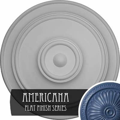 "4-7/8"" x 54"" x 54"" Polyurethane Large Classic Ceiling Medallion, Hand-Painted Americana"