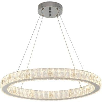 24 in. Chrome Integrated LED Pendant with Clear Crystals