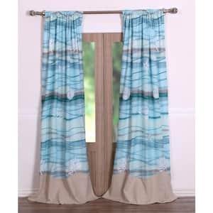 Multi Colored Coastal Rod Pocket Sheer Curtain - 42 in. W x 84 in. L