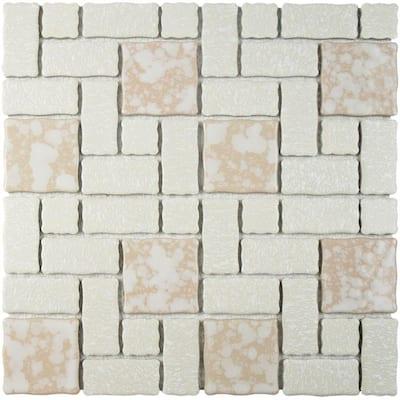 Academy Bone 12 in. x 12 in. Porcelain Mosaic Tile (9.79 sq. ft. / Case)