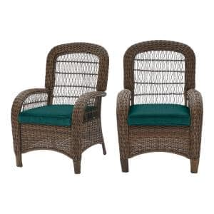 Beacon Park Brown Wicker Outdoor Patio Captain Dining Chair with CushionGuard Malachite Green Cushions (2-Pack)