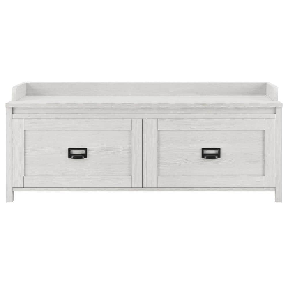 Systembuild Brownwood Ivory Pine Entryway Storage Bench Hd74829 The Home Depot