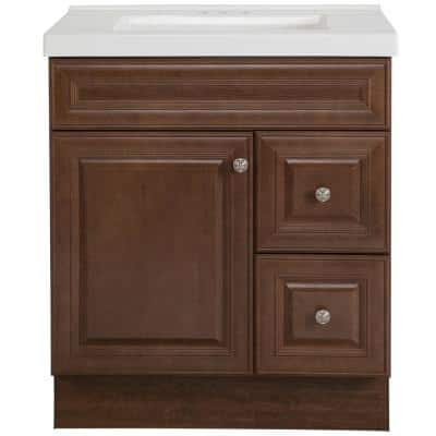Glensford 31 in. W x 22 in. D Bathroom Vanity in Butterscotch with Cultured Marble Vanity Top in White with White Sink