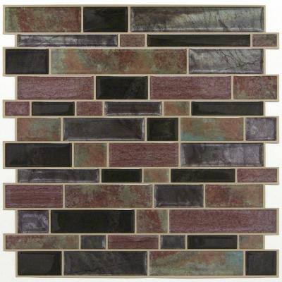 10.5 in x 10.5 in Modern Long Stone Tile Peel and Stick Backsplash