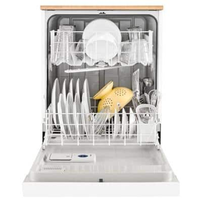24 in. White Front Control Heavy-Duty Portable Dishwasher with 1 Hour Wash Cycle, 64 dBA