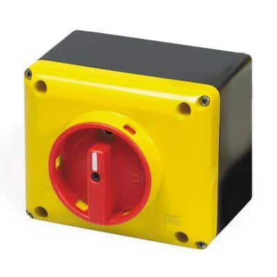 32 Amp Enclosed Disconnect Switch for Motor Control, 3-Phase, Lockable, 600-Volt, IP65