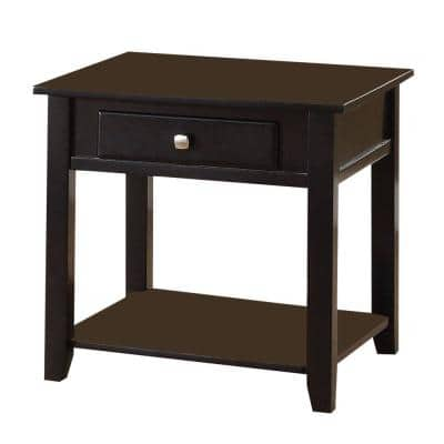 Wooden Black End Table with One Drawer and One Shelf