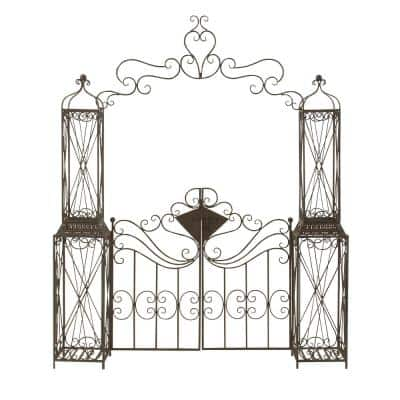 78 in. x 94 in. Traditional Style Black Distressed Metal Garden Arbor with 2-Door Gate and Latch