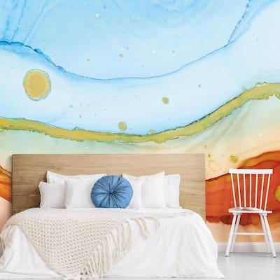 12 ft. x 9 ft. Splendor Sea Foam Peel and Stick Wallpaper Mural
