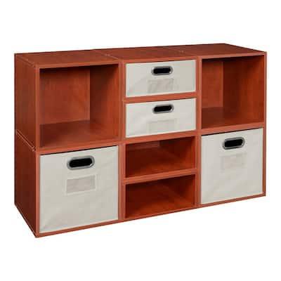 39 in. H x 26 in. W x 13 in. D Cherry Wood 8-Cube Storage Organizer