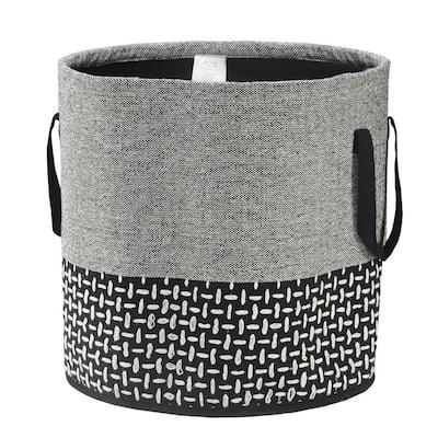 Modern Gray / Black Monochromatic Embroidered Decorative Storage Basket