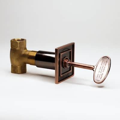 "Univ Squ Gas Vlv Flange - 3"" Antique Brass Key ( 1/2"" 3-step strt Vlve - 3/4"" throat - 1/2"" line Connect)"