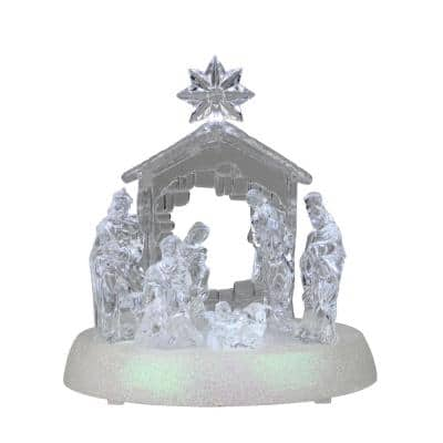 7.5 in. LED Holy Family in Stable Christmas Nativity Scene Decoration