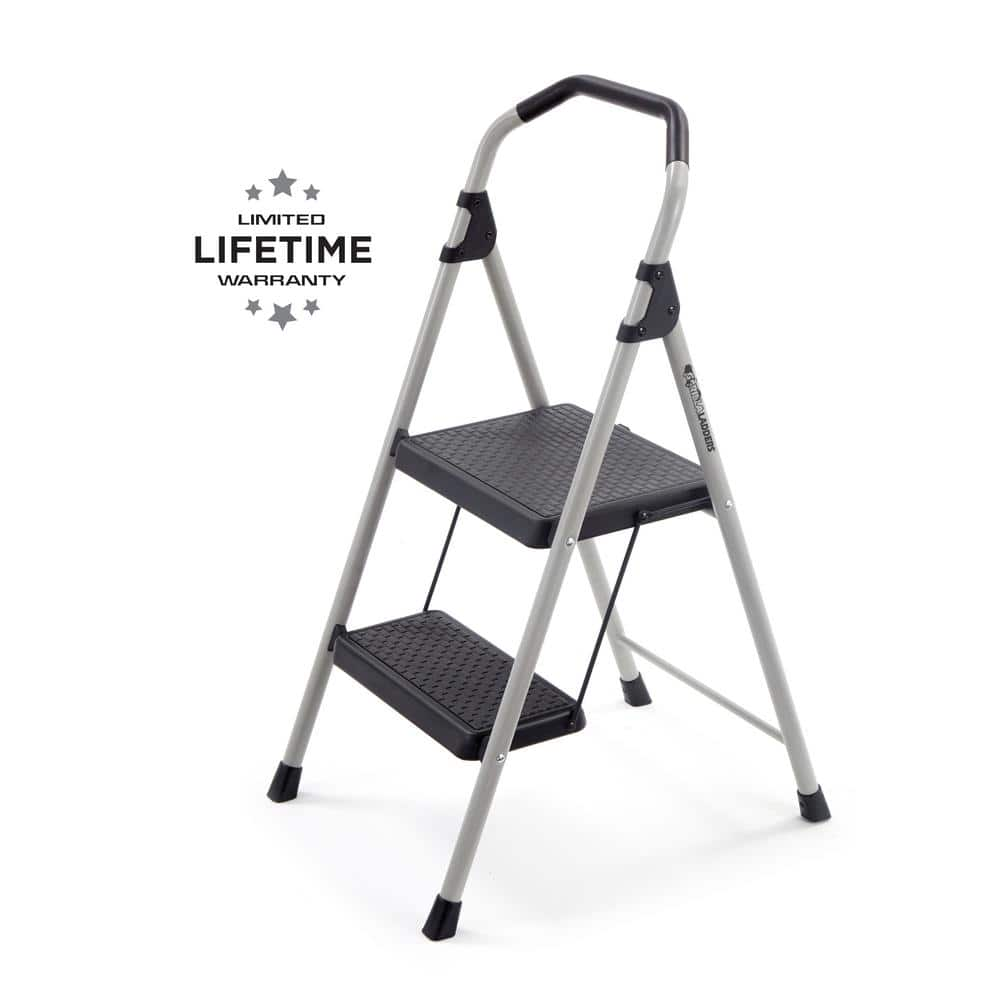 Gorilla Ladders 2 Step Lightweight Steel Step Stool Ladder With 225 Lbs Load Capacity Type Ii Duty Rating Gls 2 The Home Depot