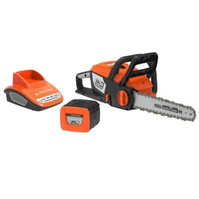 16 in. 60-Volt Cordless Lithium-Ion Electric Chainsaw with Battery and Fast Charger Included