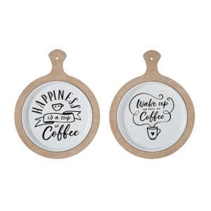12 in. W x 14 in. H Round White Kitchen Wall Decor with Wood Frame