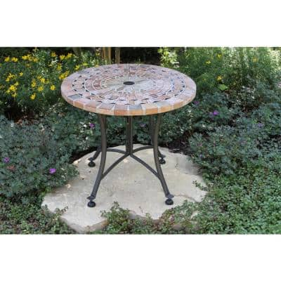 Round Sandstone Metal Outdoor Accent Table