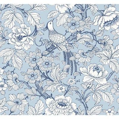 Beaufort Light Blue Peony Chinoiserie Wallpaper