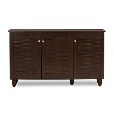 12-Pair Winda Dark Brown Wood Wide Shoe Organizer Storage Cabinet