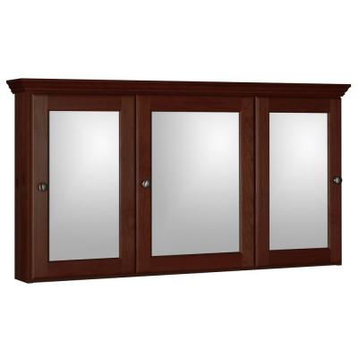 Ultraline 48 in. W x 27 in. H x 6-1/2 in. D Framed Tri-View Surface-Mount Bathroom Medicine Cabinet in Dark Alder