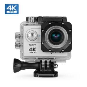 GO 4K Wireless Sports Action Camera 16MP Lens, 98 ft. Underwater Waterproof, 170° Wide Angle, w/Remote & Accessories Kit