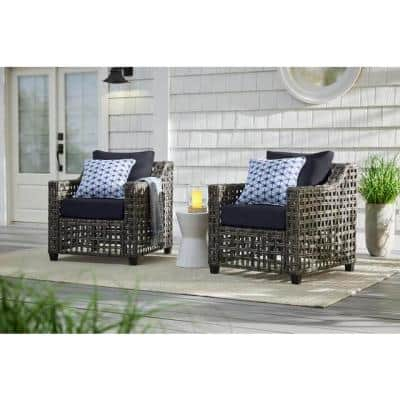 Briar Ridge Brown Wicker Outdoor Patio Deep Seating Lounge Chair with CushionGuard Midnight Navy Blue Cushions (2-Pack)