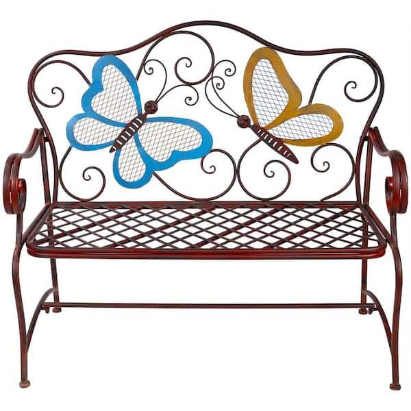Outdoor 2 Person Erfly Garden Bench, Rod Iron Patio Furniture Home Depot
