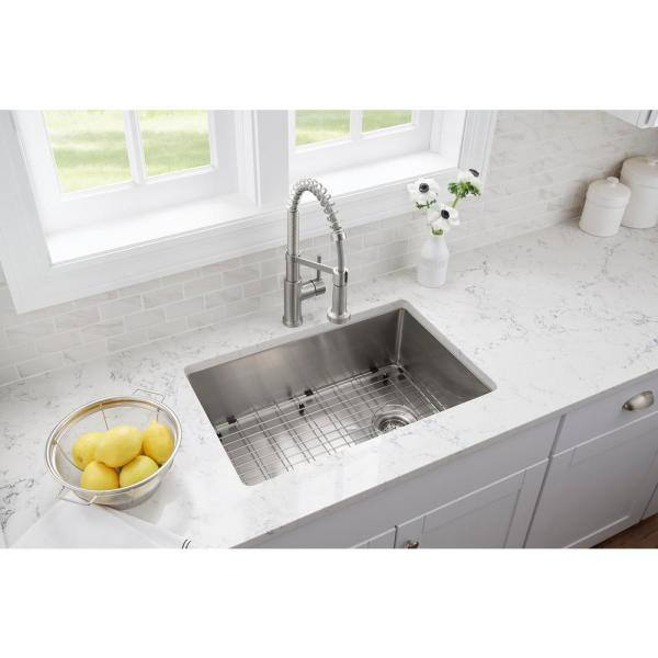 Glacier Bay All In One Brushed Stainless Steel 27 In 18 Gauge Tight Radius Single Bowl Undermount Kitchen Sink With Faucet Fsur2718b1 The Home Depot