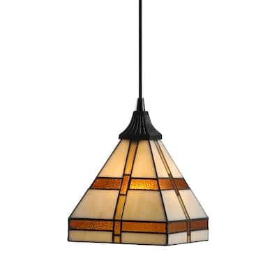 Instant Pendant 1-Light Recessed Light Conversion Kit Antique Bronze Craftsman Style Shade