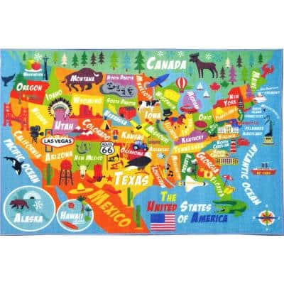 Multi-Color Kids and Children Bedroom USA United States Map Educational Learning 8 ft. x 10 ft. Area Rug