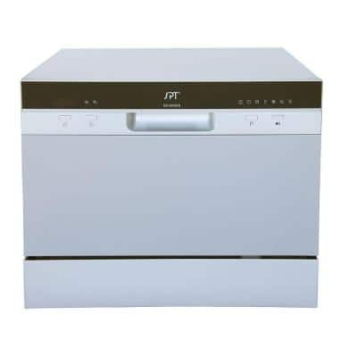 21 in. Silver Portable Countertop 120-Volt Dishwasher with 7 Cycles with 6 Place Settings Capacity