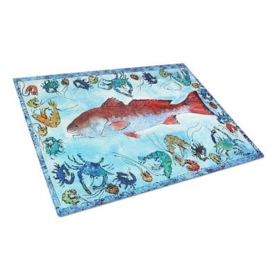Fish Red Fish Tempered Glass Large Cutting Board