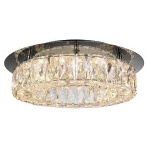 Keighley 13 in. Polished Chrome Integrated LED Crystal Flush Mount