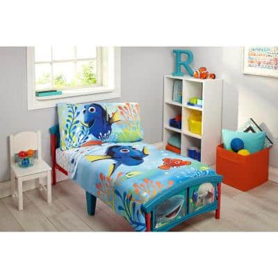 Finding Dory Ocean Blue, Yellow, Orange 4-Piece Toddler Bedding Set with Nemo, Marlin and other Friends