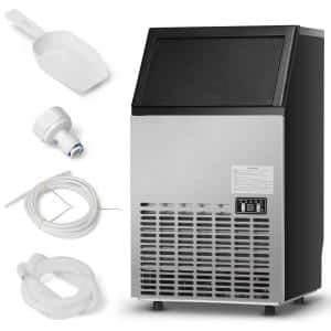 110 lb. 24 in.H Built-In Ice Maker in Black and Silver Stainless Steel