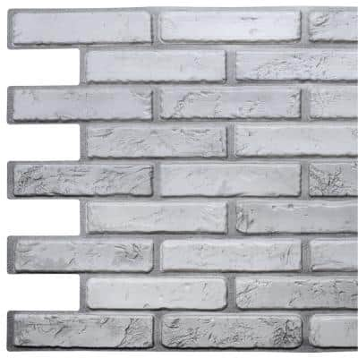 3D Falkirk Retro 10/1000 in. x 38 in. x 20 in. Off White Grey Faux Brick PVC Wall Panel