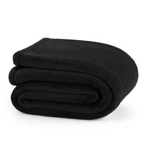 Plush Black Polyester Twin Blanket