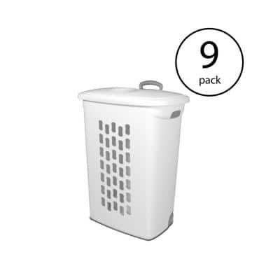 White Laundry Hamper with Lift-Top, Wheels, And Pull Handle (9 Pack)