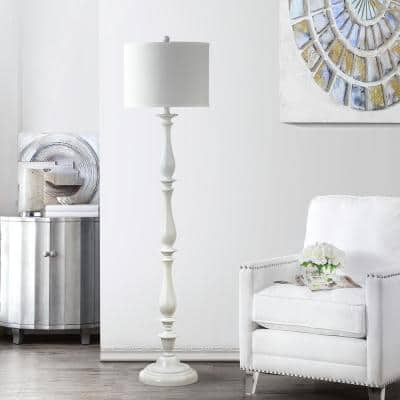 Bessie 62 in. White Candlestick Floor Lamp with Off-White Shade