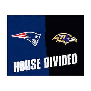 NFL Patriots / Ravens Blue House Divided 3 ft. x 4 ft. Area Rug
