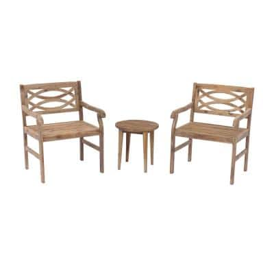 Fontana 3-Piece Wood Outdoor Bistro Set
