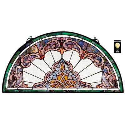 Lady Astor Demi-Lune Stained Glass Window Panel
