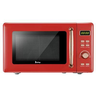 0.7 cu. ft. Retro Countertop Microwave with Display in Red