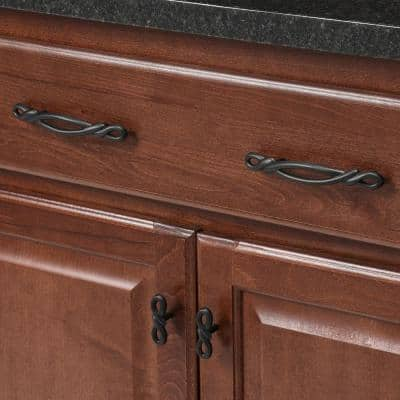 French Twist 3 in. Center-to-Center Black Iron Pull