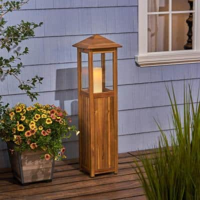 Claudine 47 in. Wood Outdoor Candle Lantern