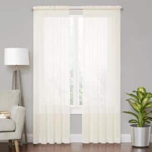 WHITE Solid Rod Pocket Sheer Curtain - 59 in. W x 84 in. L