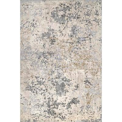 Contemporary Motto Abstract Beige 8 ft. x 10 ft. Area Rug
