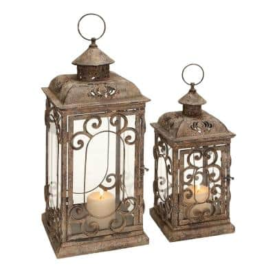Brown Metal Rustic Candle Lantern (Set of 2)