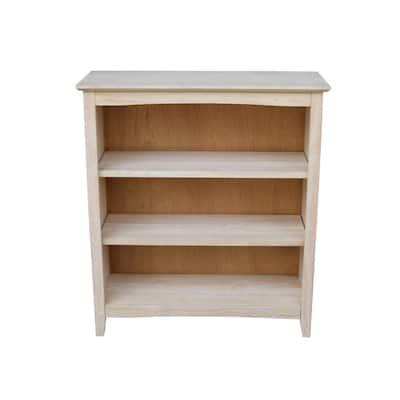 36 in. Unfinishe Wood 3-shelf Standard Bookcase with Adjustable Shelves