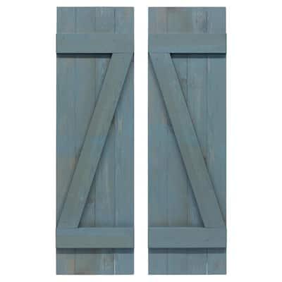 14 in. x 84 in. Wood Z Board and Batten Shutters Pair in Provincial Blue
